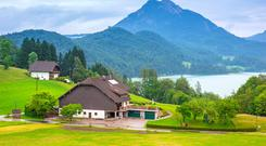 Alpine chalets in the picturesque spa town of Bad Ischl, which sits on the River Traun in Upper Austria.
