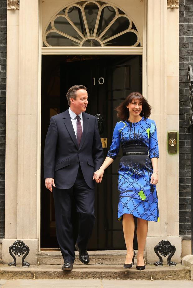 British Prime Minister David Cameron and his wife Samantha Cameron leave Downing Street on May 8, 2015 in London, England. (Photo by Christopher Furlong/Getty Images)