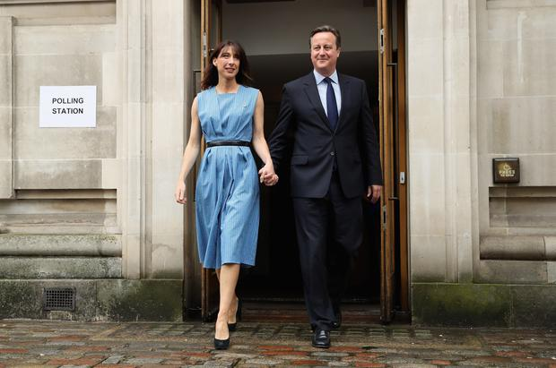 British Prime Minister David Cameron and his wife Samantha Cameron leave after voting in the EU Referendum at Central Methodist Hall, Wesminster on June 23, 2016 in London, United Kingdom. (Photo by Dan Kitwood/Getty Images)