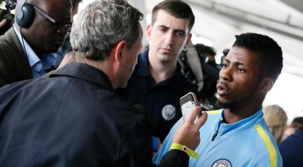 Kelechi Iheanacho speaking at a fans event at City's Academy CREDIT: REUTERS