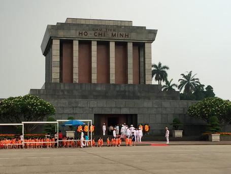 Ho Chi Minh's mausoleum in Vietnam's capital, Hanoi. The tomb of the Communist leader is a place of pilgrimage for many Vietnamese.