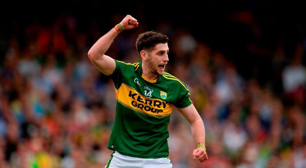 Paul Geaney of Kerry celebrates after scoring his side's second goal during the Munster GAA Football Senior Championship Final match between Kerry and Tipperary at Fitzgerald Stadium in Killarney, Co Kerry. Photo by Brendan Moran/Sportsfile