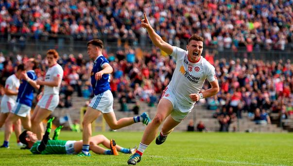 Connor McAliskey of Tyrone celebrates after scoring his side's third goal of the game during the Ulster GAA Football Senior Championship Semi-Final Replay between Tyrone and Cavan at St Tiemach's Park in Clones, Co Monaghan. Photo by Ramsey Cardy/Sportsfile