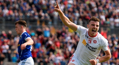 Connor McAliskey of Tyrone celebrates after scoring his side's third goal of the game during the Ulster GAA Football Senior Championship Semi-Final Replay between Tyrone and Cavan. Photo: Sportsfile