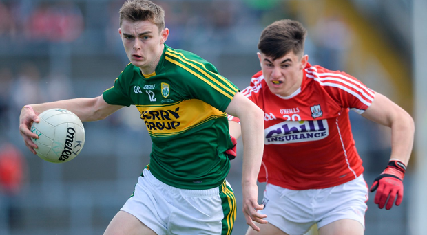 Kerry's Diarmuid O'Connor in action against Cork's Cathal Foley. Photo: Sportsfile
