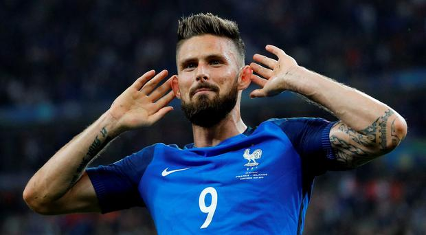 France's Olivier Giroud celebrates after scoring their fifth goal REUTERS/Darren Staples
