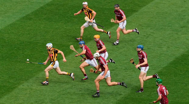 Jonjo Farrell races away from the Galway defence during yesterday's victory in the Leinster SHC final. Photo: Sportsfile