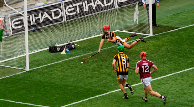 Cillian Buckley stretches to prevent Galway from scoring. Photo: Sportsfile