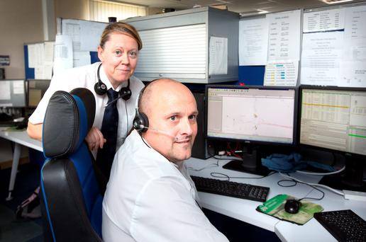 Dublin bus controllers Ingrid Doyle and Mark Drew at the Broadstone Depot. Photo: Tony Gavin