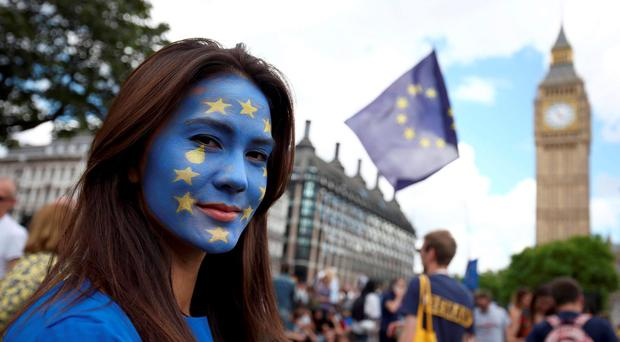 A protester at a 'March for Europe' demonstration against Britain's decision to leave the European Union in London at the weekend. Photo: PA