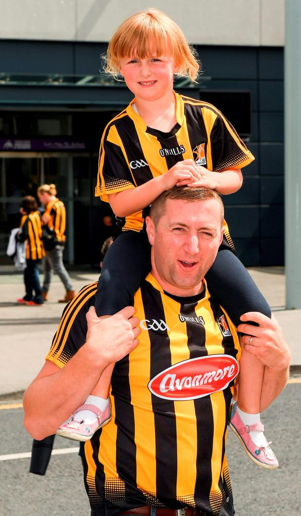 Katie Nagle (5) and her father Richard, from Ballyhale, arrive at Croke Park ahead of the match between Galway and Kilkenny yesterday. Photo by Ray McManus/Sportsfile