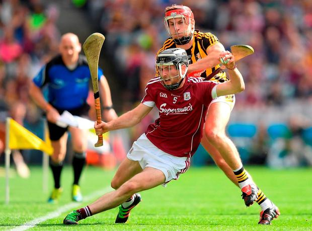 Galway's Pádraic Mannion in action against Cillian Buckley of Kilkenny during the Leinster SHC final at Croke Park, which Kilkenny won to claim their 71st provincial title. Photo: Stephen McCarthy