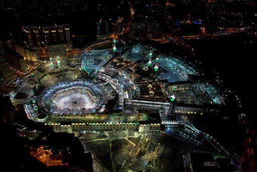 An aerial view shows Muslim worshippers praying at the Grand mosque, the holiest place in Islam, in the holy city of Mecca during Ramadan, on Lailat al-Qadr, or Night of Power, Saudi Arabia. Photo: Reuters
