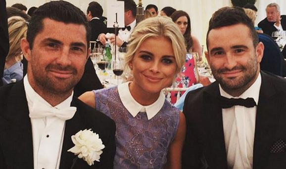Jess Redden, centre, with boyfriend Rob Kearney, left, and his brother Dave, right