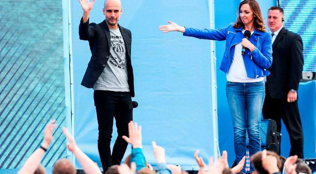 Manchester City manager Pep Guardiola is unveiled to fans