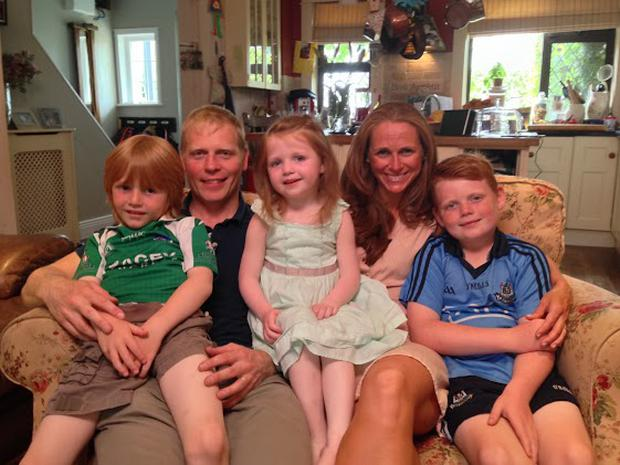 Liam McBarron and Ann-Marie Cahill with their children in 2014. Photo Credit RTE