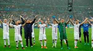 Iceland players at the end of the game