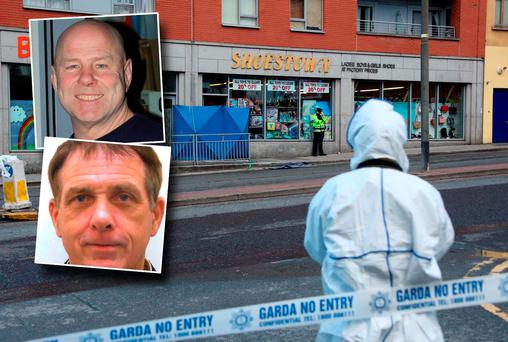Scene of Friday shooting and inset David 'Daithí' Douglas and Eddie Hutch Snr