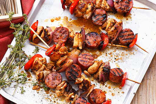 Chicken and chorizo skewers
