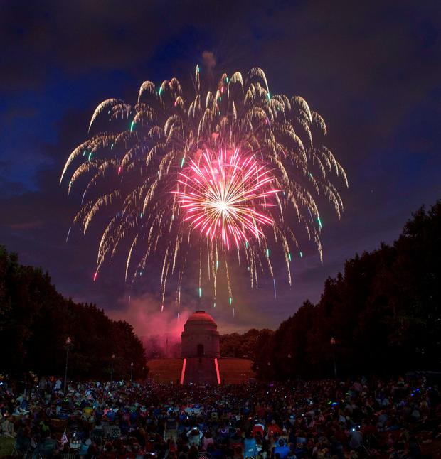 Fireworks are set off during Canton Ohios Monumental Fourth Celebration at the William McKinley Presidential Library and Museum on Sunday, July 3, 2016, in Canton, Ohio. (Bob Rossiter/The Canton Repository via AP)