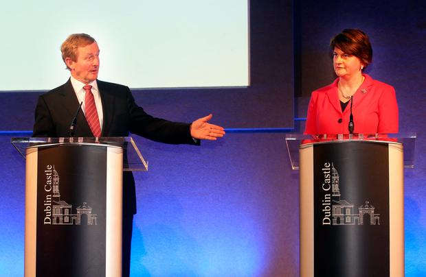 Taoiseach Enda Kenny speaks to Northern Ireland First Minister Arlene Foster at the North South Ministerial Council Meeting at Dublin Castle this morning. Photo: Tony Gavin