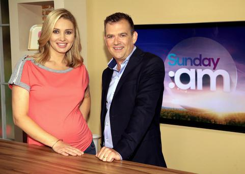 Ian Noctor and Anna Daly on the set of Sunday AM. Photo: Brian McEvoy
