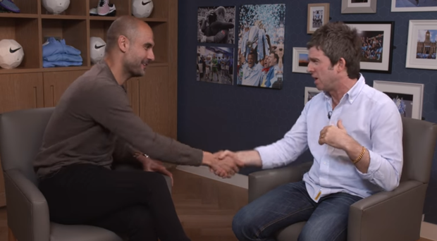 Noel Gallagher puts the questions to Pep Guardiola CREDIT: MANCHESTER CITY OFFICIAL YOUTUBE