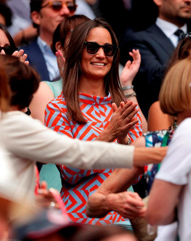 Pippa Middleton on centre court on day seven of the Wimbledon Championships at the All England Lawn Tennis and Croquet Club, Wimbledon