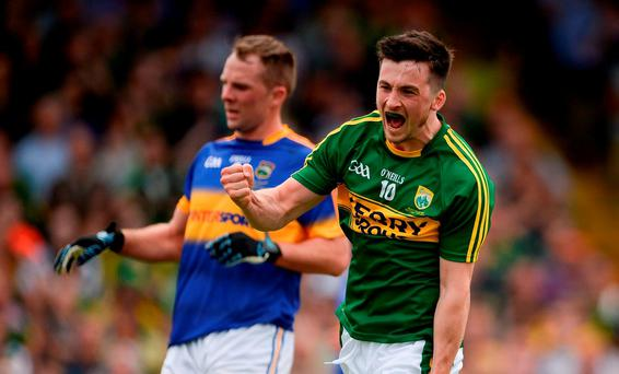 Paul Murphy of Kerry celebrates after scoring his side's first goal during the Munster GAA Football Senior Championship Final match between Kerry and Tipperary at Fitzgerald Stadium in Killarney, Co Kerry. Photo by Brendan Moran/Sportsfile