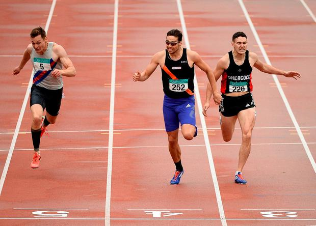 David Gillick (left) comes home third behind Brian Gregan (C) and Craig Lynch in last month's men's 400m final at the National Senior Championships. Photo: Sam Barnes/Sportsfile