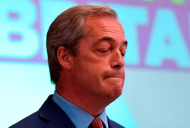 Ukip leader Nigel Farage resigns at a press conference at The Emmanuel Centre in London yesterday. Photo: Getty