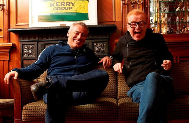 Chris Evans with co-presenter Matt LeBlanc while filming an episode of 'Top Gear' in Killarney earlier this year