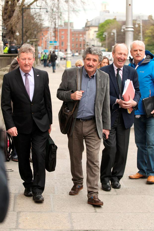 Independent Alliance TDs Sean Canney, John Halligan, Shane Ross and Finian McGrath at Government Buildings yesterday