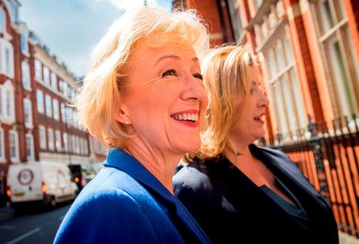 Andrea Leadsom arrives at The Cinnamon Club in Westminster, London, yesterday to launch her bid to be the leader of the Conservative Party. Photo: Getty