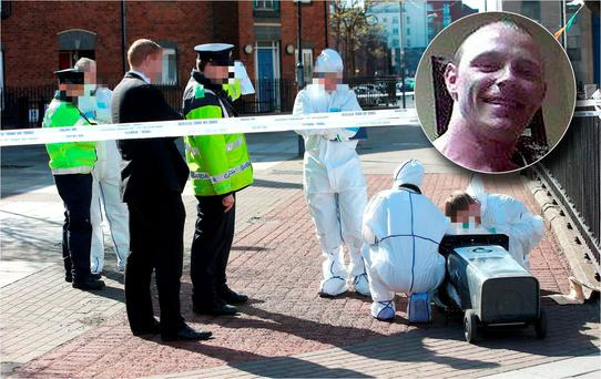 Scene of Martin O'Rourke shooting and inset Keith Murtagh
