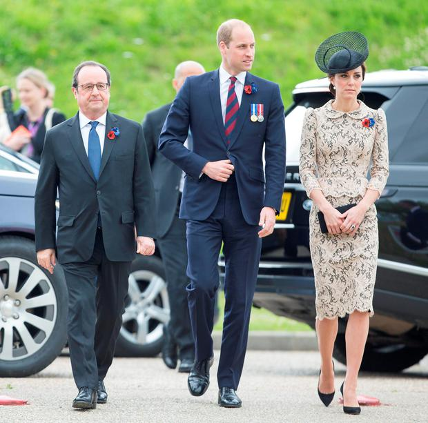 (left to right) French President Francois Hollande and the Duke and Duchess of Cambridge arrive to open the new Thiepval Memorial to the Missing Visitors Centre in Thiepval, France