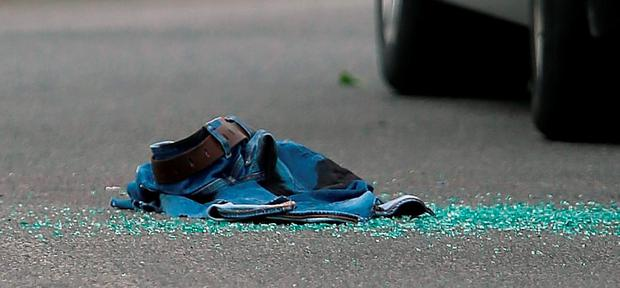 A pair of jeans at the scene. Photo: Niall Carson/PA Wire