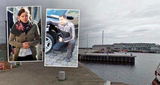 South Quay, Arklow (Photo: Google Maps), Inset left; murder accused Marta Herda; right, deceased Csaba Orsas