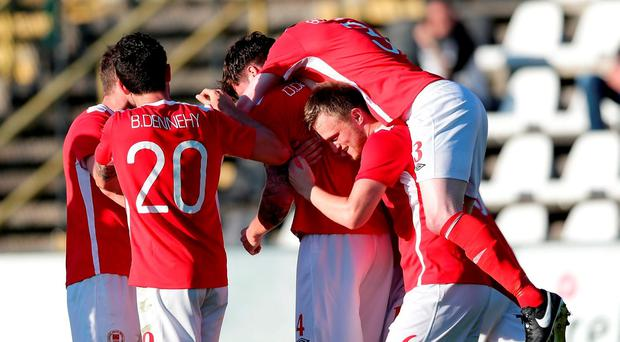 St Patrick's Athletic players celebrate after Darren Dennehy, centre, scored their side's first goal during the UEFA Europa League First Qualifying Round 2nd Leg match between AS Jeunesse Esch and St. Patrick's Athletic at La Frontière in Esch-sur-Alzette, Luxembourg. Photo by Gerry Schmit/Sportsfile