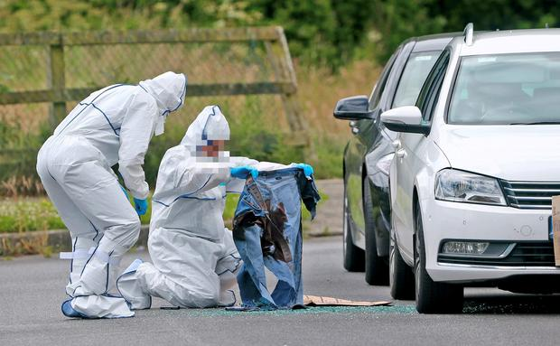 Garda forensics officers examine the bloodsoaked clothing