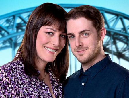 Rebecca Root, pictured with 'Boy Meets Girl' co-star Harry Hepple. Photographer: Matt Squire