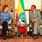 UN special envoy for El Nino and climate change Mary Robinson meeting Ethiopian Foreign Minister Tedros A Ghebreyesus during her visit to Addis Ababa, Ethiopia. Photo: Liam Burke/Press22/PA Wire