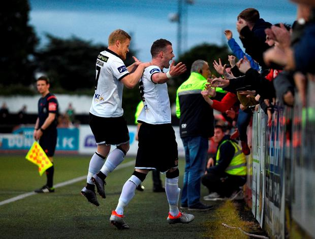 Ciarán Kilduff celebrates with fans after Dundalk's fourth goal. Photo by Paul Mohan/Sportsfile