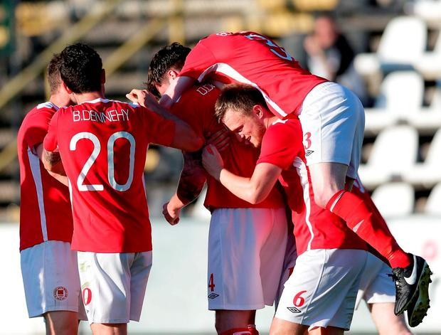 St Patrick's Athletic players celebrate their away goal. Photo by Gerry Schmit/Sportsfile