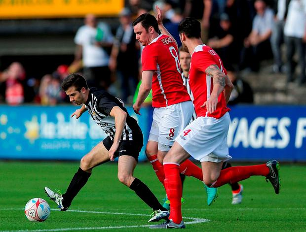 Robin Mertinitz of AS Jeunesse Esch under pressure from St Pats' Keith Treacy and Darren Dennehy during a Europa League clash in 2016. Photo by Gerry Schmit/Sportsfile