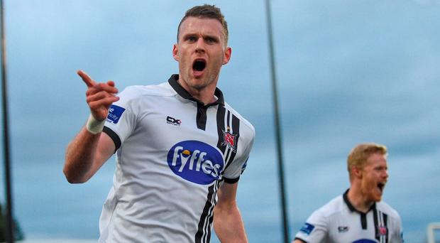 Ciarán Kilduff celebrates after scoring Dundalk's fourth goal of the night at Oriel Park. Photo by Paul Mohan/Sportsfile