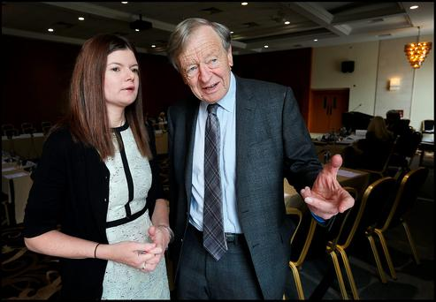 Kathleen Funchion and Lord Dubs at the meeting yesterday Photo: Steve Humphreys