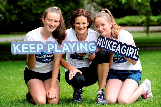 Sonia O'Sullivan is pictured at St. Stephen's Green Park for the launch of the new Always #LikeAGirl Keep Playing campaign in Ireland. Pictured with Sonia is 13 year old Anna Thompson and 12 year old Lucy Madden from Dublin.