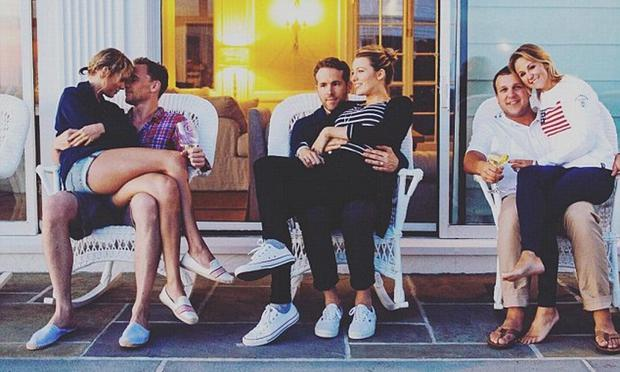 (L to R) Taylor Swift and Tom Hiddleston; Ryan Reynolds and Blake Lively and Britany LaManna and her husband