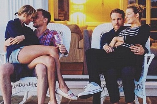 (L to R) Taylor Swift and Tom Hiddleston; Ryan Reynolds and Blake Lively